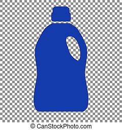 Plastic bottle for cleaning. Blue icon on transparent...