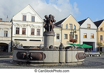 Marianske namestie - fountain on Marianske square (slovak:...