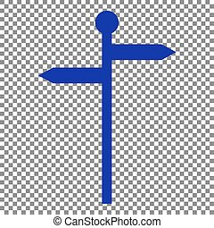 Direction road sign. Blue icon on transparent background.
