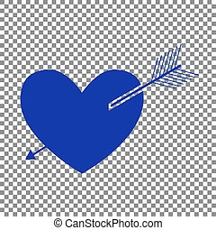 Arrow heart sign. Blue icon on transparent background.