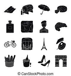 France country set icons in black style. Big collection of...