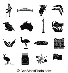 Australia set icons in black style. Big collection of...