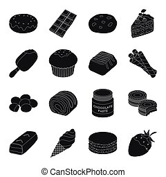 Chocolate desserts set icons in black style. Big collection of chocolate desserts vector symbol stock illustration