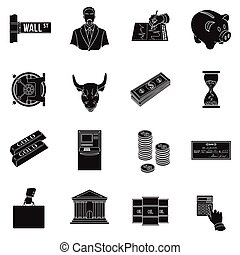 Money and finance set icons in black style. Big collection of money and finance vector symbol stock illustration