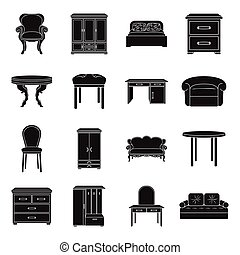 Furniture and home interior set icons in black style. Big...