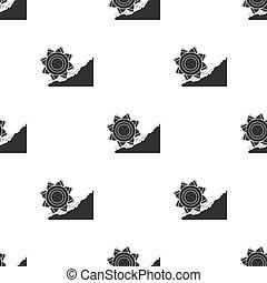 Bucket-wheel excavator icon in black style isolated on white background. Mine pattern stock vector illustration.