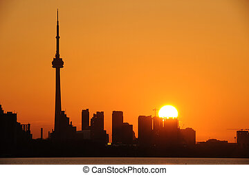 Toronto Skyline - CN Tower and downtown Toronto at sunrise
