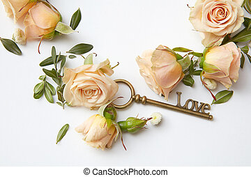 Key with rose petals - Antique key and beautiful buds of...