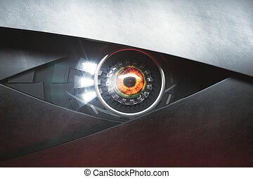 Hazel cyber eye. Future technologies concept. 3D Rendering
