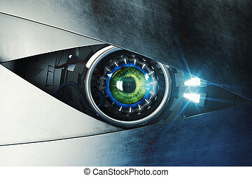 Green cyber eye. Technology and electronics concept. 3D...