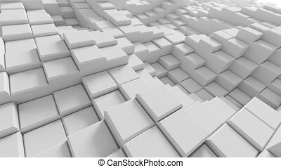 Beautiful Abstract White Boxes Rising in Looped 3d...