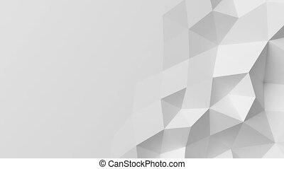 Beautiful White Polygonal Wall Waving in Looped Abstract 3d...