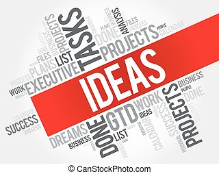 IDEAS word cloud collage, business concept background