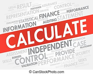 CALCULATE word cloud, business concept