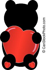 Teddybear silhouette with heart on white background. Vector...