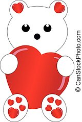 White teddybear with heart on white background. Vector...
