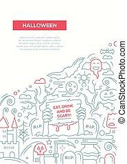 Halloween - line design brochure poster template A4 -...