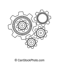 monochrome contour with set gear wheel vector illustration