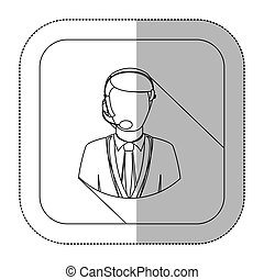 middle shadow monochrome sticker with men operator with headphone in frame