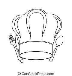 monochrome contour with chef hat and cutlery vector...