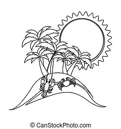 monochrome contour with beach with crab and lobster vector...