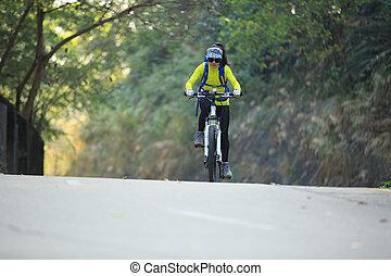 Ciclista, Montaña, mujer, joven, Uno, rastro, bicicleta,...