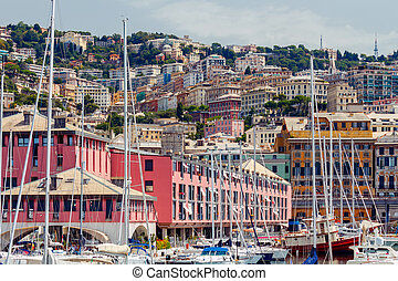Genoa. Old quarters. - View of old houses on the hill in the...