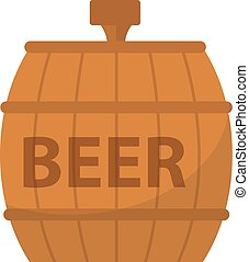 Beer Barrel, icon flat style. Isolated on white background. Vector illustration.