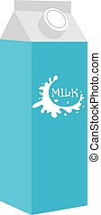 Milk in a box icon flat style. Isolated on white background. Vector illustration.