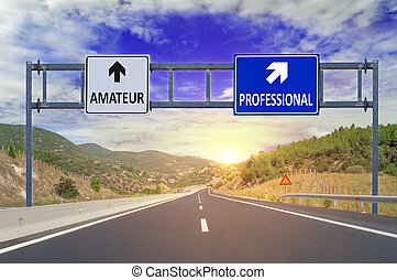 Two options Amateur and Professional on road signs on...