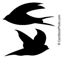 Sand Martin Silhouettes. Vector EPS 10.