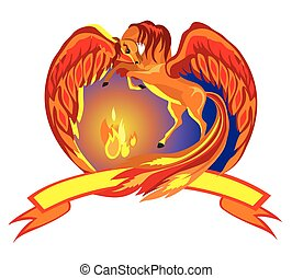 Pegasus_ with_fire - Vector Illustrated Portrait of Horse...