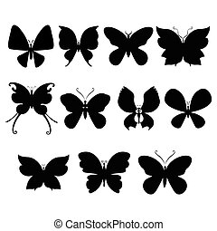 Butterfly silouettes - Butterfly set isolated on white