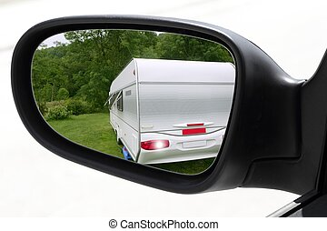 rearview car driving mirror meadow caravan - rearview car...