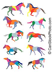 Set of vector horses colorful silouettes - illustration with...
