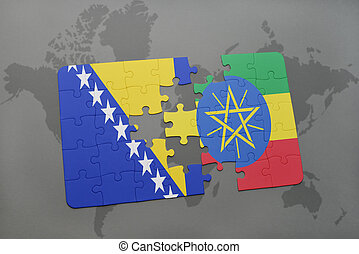 puzzle with the national flag of bosnia and herzegovina and...