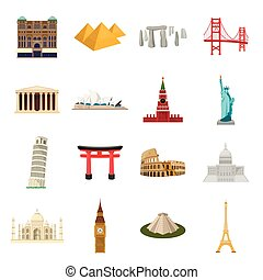 Countries set icons in cartoon style. Big collection of...