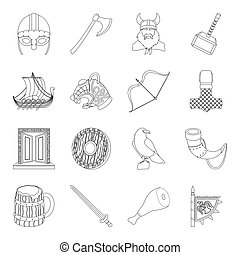 Vikings set icons in outline style. Big collection of vikings vector symbol stock illustration