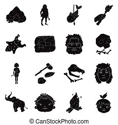 Stone age set icons in black style. Big collection of stone...