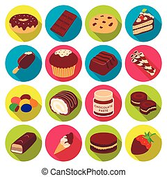 Chocolate desserts set icons in flat style. Big collection of chocolate desserts vector symbol stock illustration