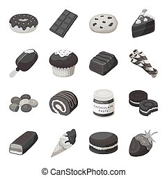 Chocolate desserts set icons in monochrome style. Big collection of chocolate desserts vector symbol stock illustration