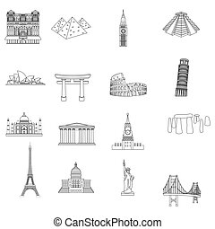 Countries set icons in outline style. Big collection of...