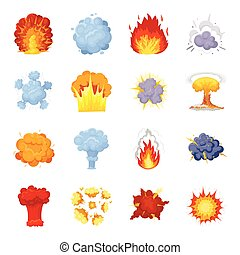 Explosions set icons in cartoon style. Big collection of explosions vector symbol stock illustration