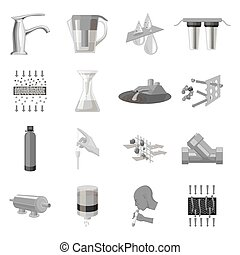 Water filtration system set icons in monochrome style. Big collection of water filtration system vector symbol stock illustration