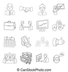 Conference and negetiations set icons in outline style. Big...