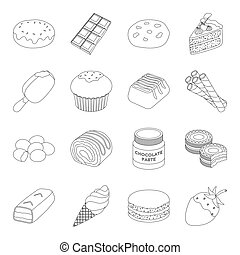 Chocolate desserts set icons in outline style. Big collection of chocolate desserts vector symbol stock illustration