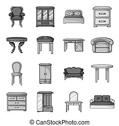 Furniture and home interior set icons in monochrome style....