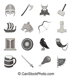 Vikings set icons in monochrome style. Big collection of vikings vector symbol stock illustration