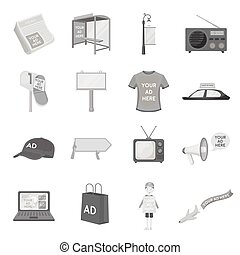 Advertising set icons in monochrome style. Big collection of advertising vector symbol stock illustration