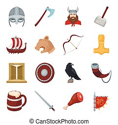 Vikings set icons in cartoon style. Big collection of vikings vector symbol stock illustration